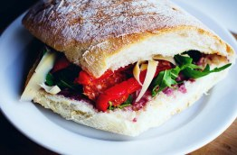 Focaccia bread sandwich with tomato and salad